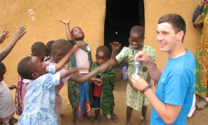 Volunteers from Hurstpierpoint College take a break in Malawi